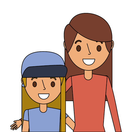 Cute mom embracing her teen daughter vector illustration  イラスト・ベクター素材