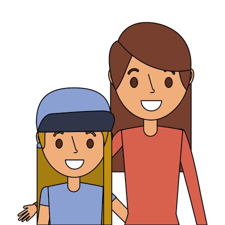 Cute mom embracing her teen daughter vector illustration Illustration