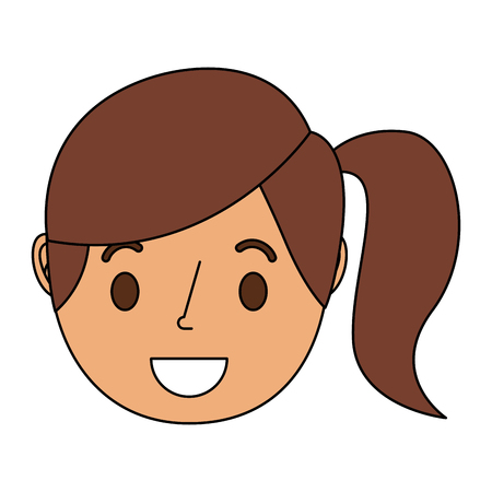 Smiling young face girl cartoon female vector illustration 向量圖像
