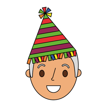 Old man grandpa smiling wearing party hat vector illustration