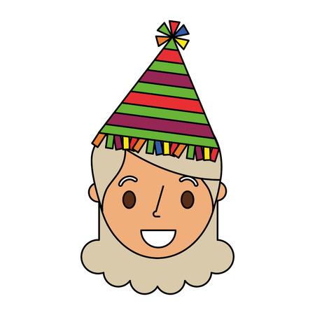 Personaje femenino de la abuela de la cara mayor con la ilustración del vector del sombrero del partido Foto de archivo - 91231510