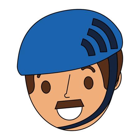 만화 얼굴 남자 성인 스포츠 헬멧 벡터 일러스트를 입고