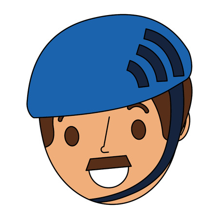 cartoon face man adult wearing sport helmet vector illustration