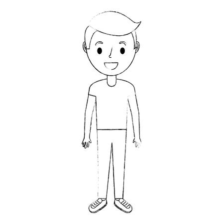 若い男の子男性キャラクター立ちベクトルイラスト
