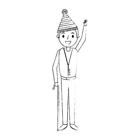 パーティー帽子手を振るベクトルイラストを持つ年配の男  イラスト・ベクター素材