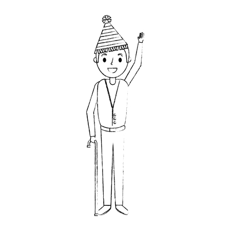 Homem mais velho com chapéu de festa que acena mão ilustração vetorial Foto de archivo - 91236735
