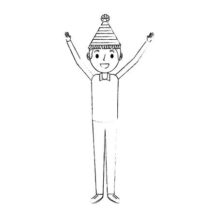 腕アップベクトルイラストでパーティー帽子をかぶった幸せな男