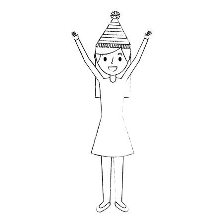 パーティー帽子と腕アップベクトルイラストに満足する女性
