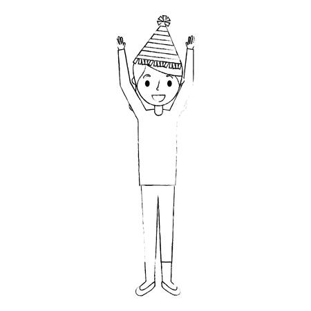 Abuela de anciana con sombrero de fiesta y brazos hasta ilustración vectorial Foto de archivo - 91236743