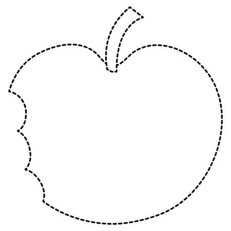 噛まれたリンゴフレッシュフルーツアイコンベクトルイラストデザイン