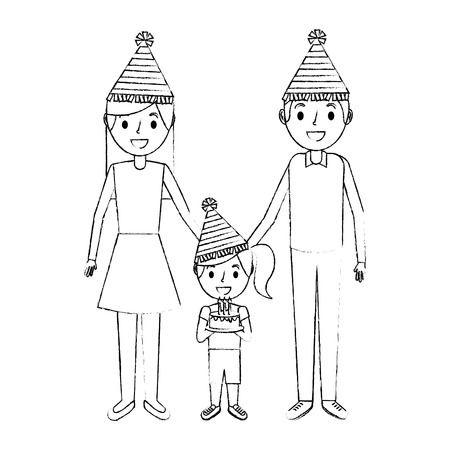 family parents and their daughter with party hat holding birthday cake vector illustration