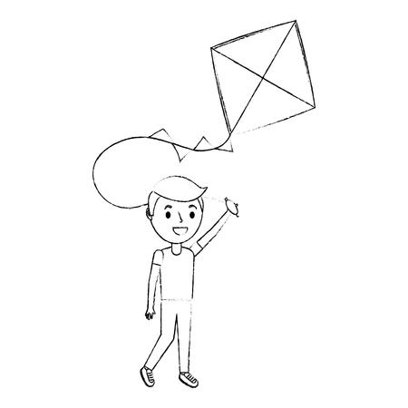 面白いベクトルイラストを再生凧を保持かわいい幸せな少年