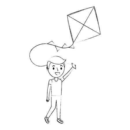 cute happy boy holding kite playing funny vector illustration Illustration