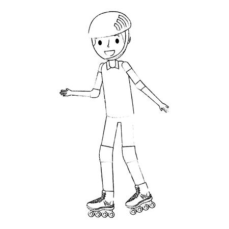 boy wearing helmet and roller skate funny vector illustration Ilustracja