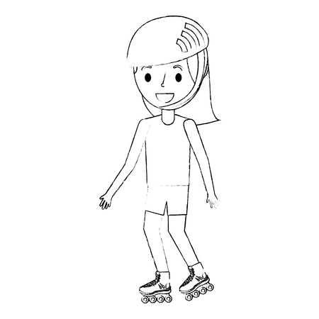 girl wearing helmet and roller skate funny vector illustration Ilustrace