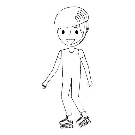boy wearing helmet and roller skate funny vector illustration Ilustrace