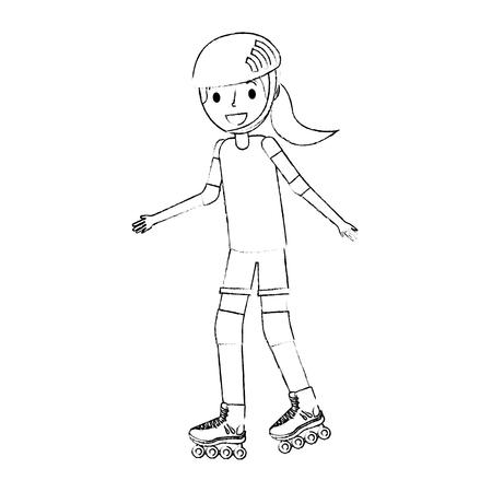 girl wearing helmet and roller skate funny vector illustration Ilustracja
