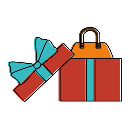 Gift box with female elegant handbag icon vector illustration design
