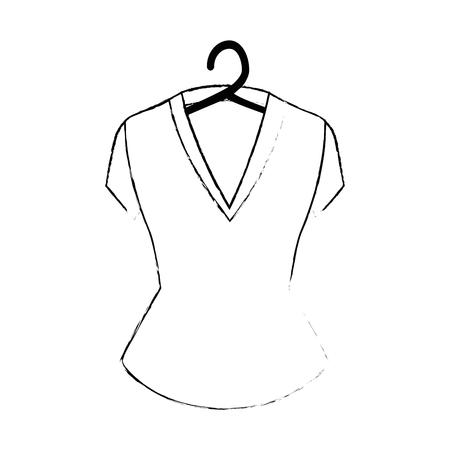 elegant blouse for women in clothespin vector illustration design