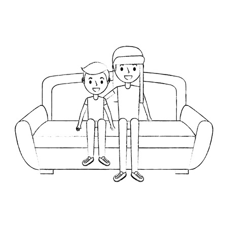 two brother smiling sitting in the sofa vector illustration sketch Illustration