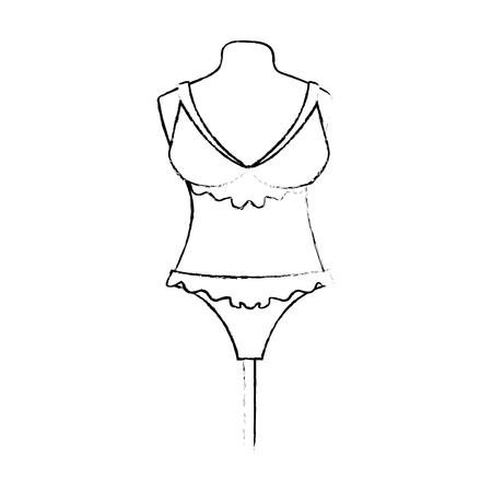 female underwear on mannequin vector illustration design