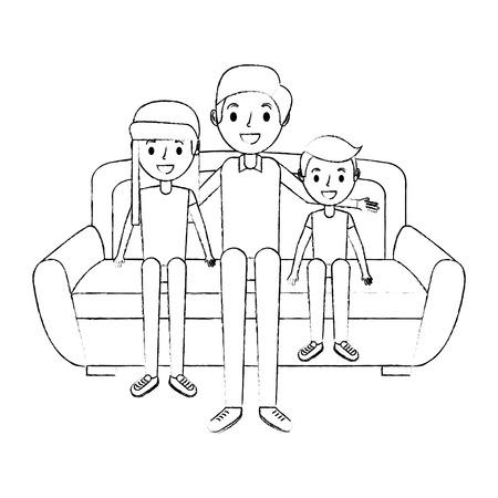 ソファベクトルイラストスケッチに座っている彼女の息子と娘とお父さん