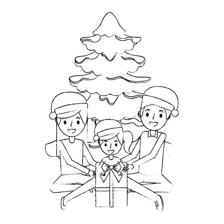 happy familiy the parents and daughter with christmas tree and gift vector illustration sketch Illustration