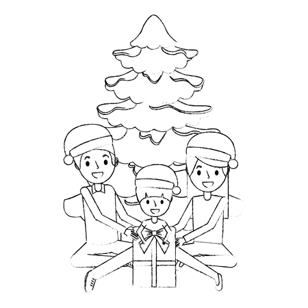 happy family the parents and child with christmas tree and gift vector illustration sketch