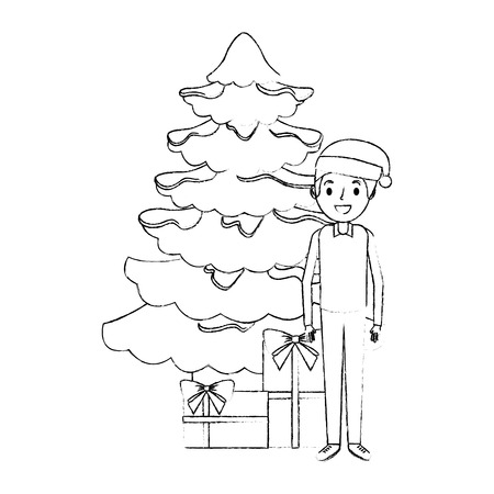 dad standing with the christmas tree and gift boxes vector illustration sketch