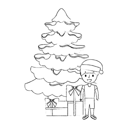 happy boy wearing christmas hat with tree and gifts vector illustration sketch Illustration