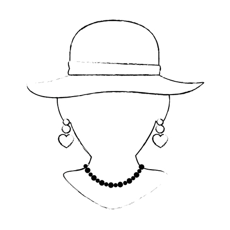 mannequin with elegant female hat and necklace vector illustration Banco de Imagens - 91236885
