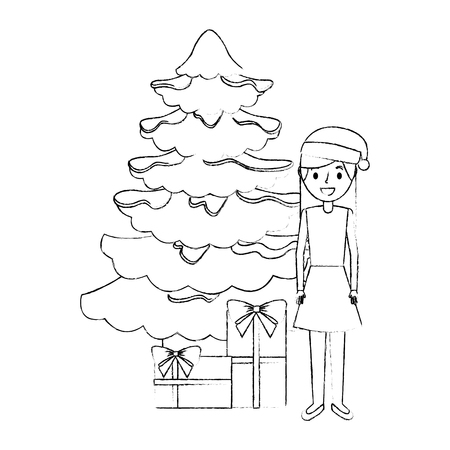 mom standing christmas tree and gift boxes vector illustration sketch