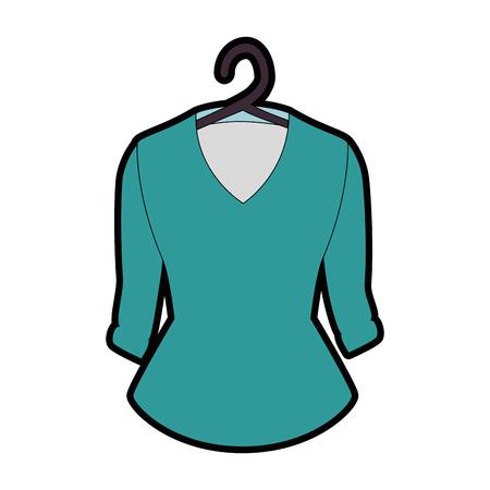 Elegant blouse for women in clothespin vector illustration design Ilustração