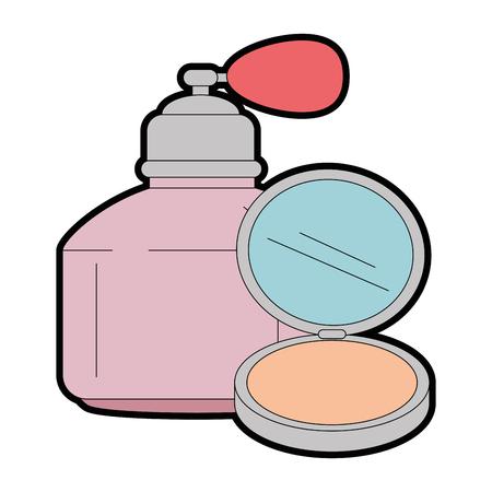 women perfume bottle whit makeup powder vector illustration design