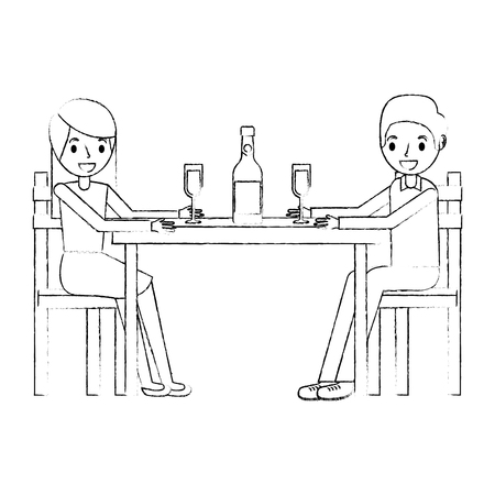 couple parents sitting with wine bottle glass vector illustration sketch Vettoriali