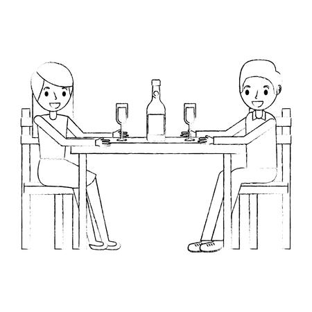 couple parents sitting with wine bottle glass vector illustration sketch Illustration