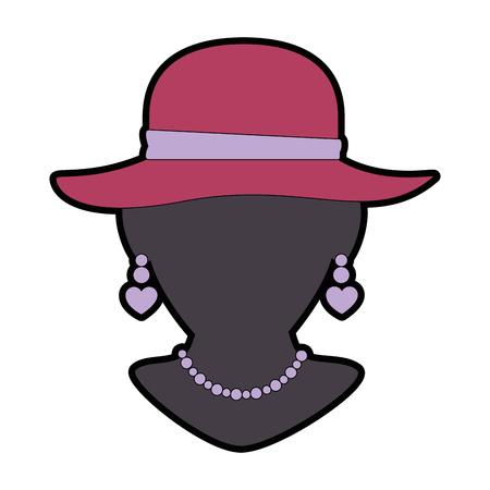 mannequin met elegante vrouwelijke hoed en ketting vector illustratie Stock Illustratie