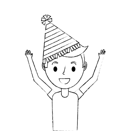 happy young boy with party hat arms up vector illustration sketch Çizim