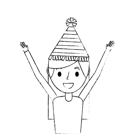 portrait woman happy with party hat and arms up vector illustration sketch Banco de Imagens - 91510993