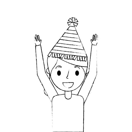 portrait woman happy with party hat and arms up vector illustration sketch