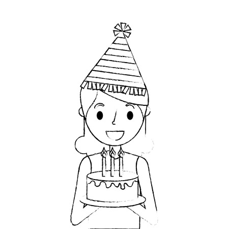 happy woman holding birthday cake wearing party hat vector illustration sketch Illustration