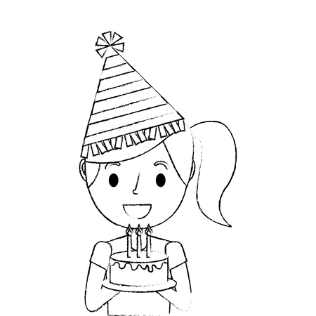 cute young little girl wearing party hat holding birthday cake vector illustration sketch