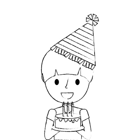 cute young boy holding birthday cake wearing party hat vector illustration sketch