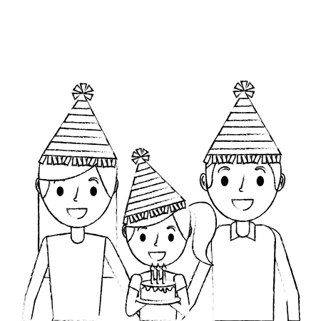 family parents and her kid with party hat holding birthday cake vector illustration sketch Illustration