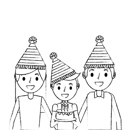 family parents and her son with party hat holding birthday cake vector illustration sketch