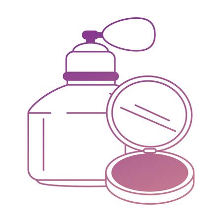 Femmes parfum bouteille blanc maquillage poudre vector illustration design Vecteurs