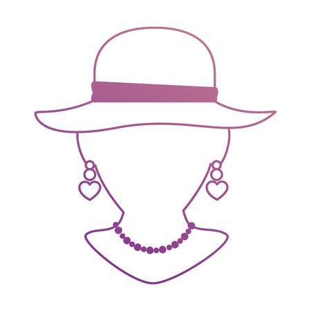 Ledenpop met elegante vrouwelijke hoed en halsband vectorillustratie