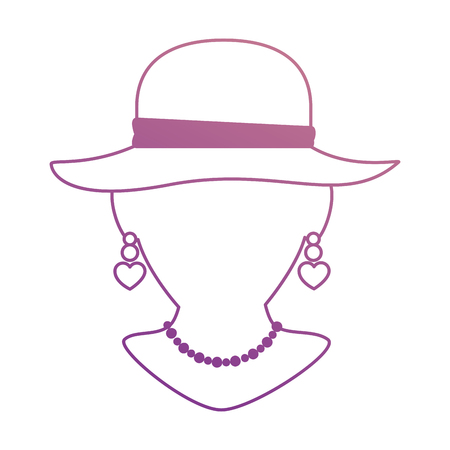 Mannequin with elegant female hat and necklace vector illustration