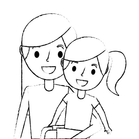 young mom carrying her daughter happy vector illustration sketch