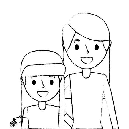 cute mom embracing her teen daughter vector illustration sketch Illustration